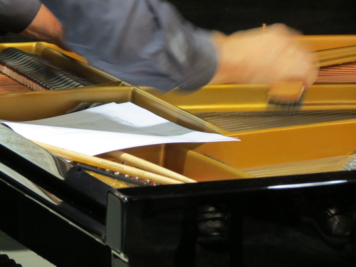 Steffen Schleiermacher streicht virtuos über die Saiten des Flügels.