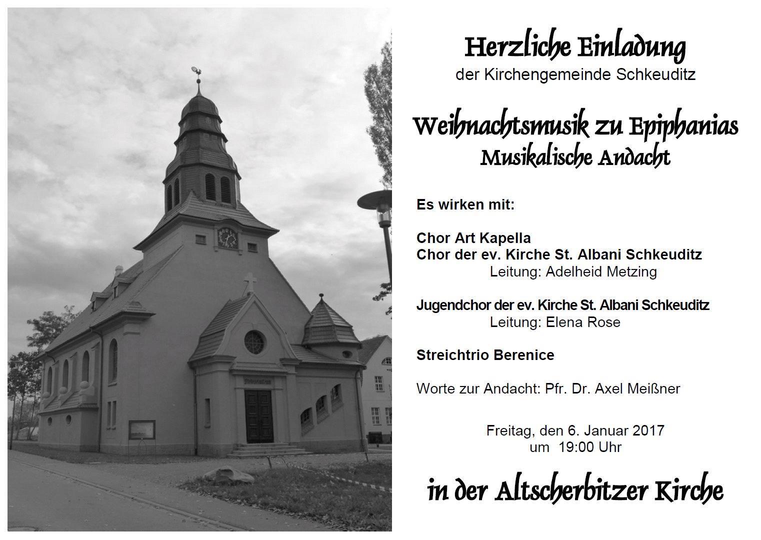 Plakat zur Weihnachtsmusik in der Kirche in Altscherbitz